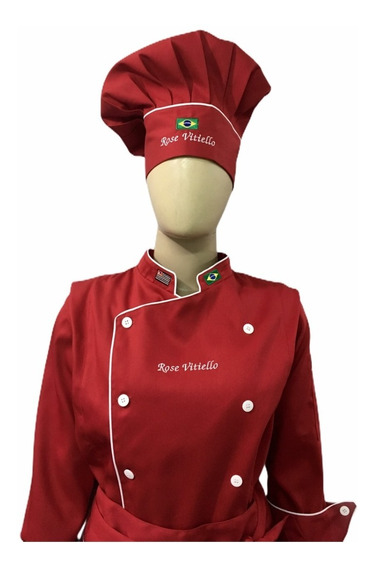 Dolma Feminina Avental Chapeu Vermelho Gastronomia Vermelha