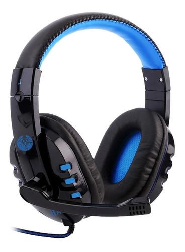 Imagem 1 de 3 de Fone de ouvido gamer Haiz Alpha 1804 preto e azul