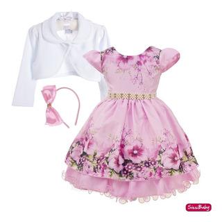 Vestido Infantil Jardim Encantado Princesa Super Luxo Tiara
