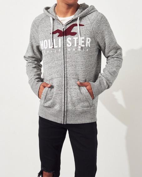 Casaco Hollister Masculino Bordado Com Ziper - Capuz 100% Original Blusas Camisas Tommy Abercrombie