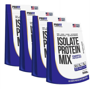 4x Refil Whey Isolate Protein Mix 900g + Coq - Profit Labs