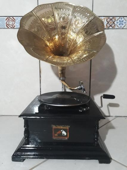 Gramofone Vitrola A Corda+30agulhas+2discos Francisco Carlos