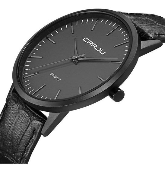 Relógio Masculino Ultra Fino De Luxo Preto Pulseira Em Couro