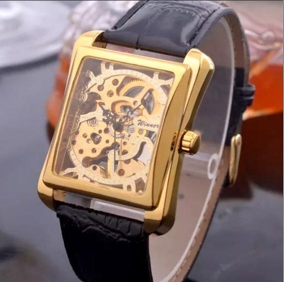 Relógio Winner Quadrado Mecânico Automático Skeleton Luxo