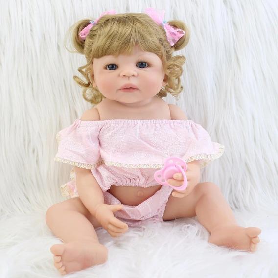 Boneca Bebê Reborn 100% Silicone Loira 1,5kg Princesa