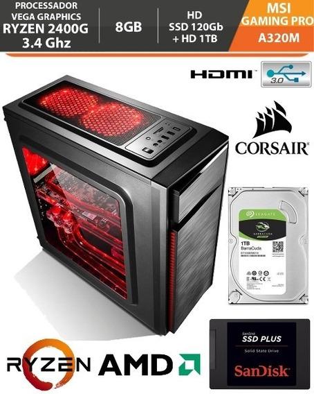 Pc Gamer Ryzen 5 2400g 3.4ghz Vega 11 - 8gb Ssd 240gb Hd 1tb