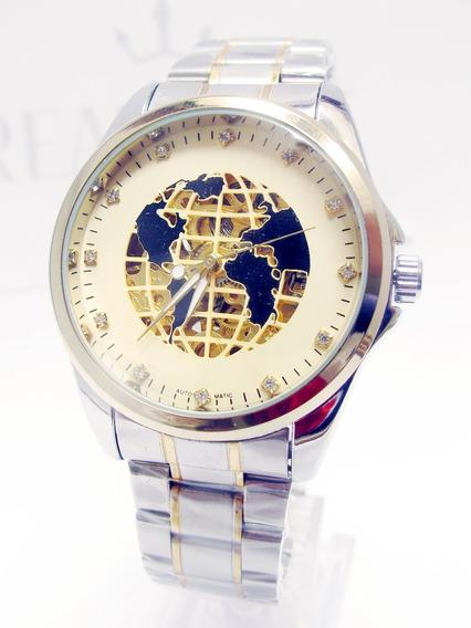 Reloj Skeleton Automático Mapamundi Blanco Acero Envío Grati