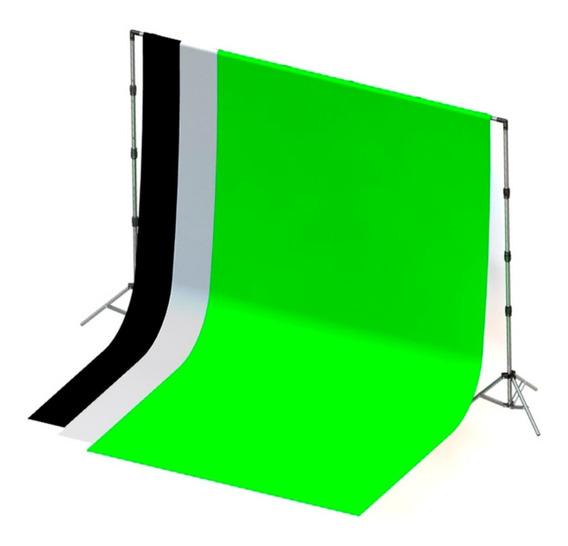 3 Tecidos 3x3 Preto/branco/verde + Sup Fundo Infinito+bolsa