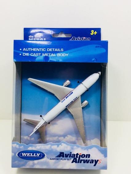 Miniatura Avião Comercial Boeing 777 Metal Welly