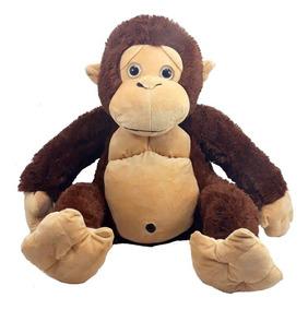 Gorila Pelúcia Grande 62 Cm Marrom Macaco Antialérgico