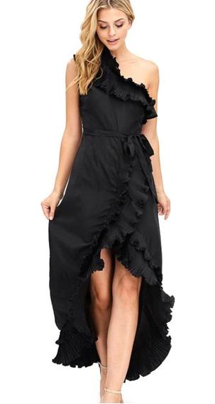 Vestido Largo De Noche, Lazo Cintura, Holanes, Elegante.