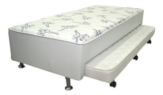 Cama Box + Colchão Acoplado C/ Cama Auxiliar Ortobom Branca