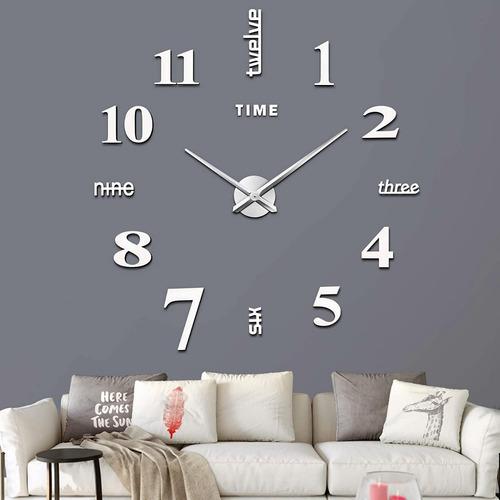 Imagen 1 de 7 de Reloj De Pared 3d Moderno Grande De Cuarzo Y Acrílico Nuevo