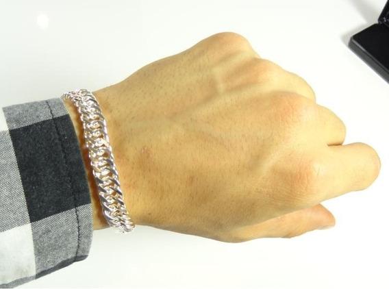 Pulseira Masculina Prata Elegante Estojo Rigido Case J3006