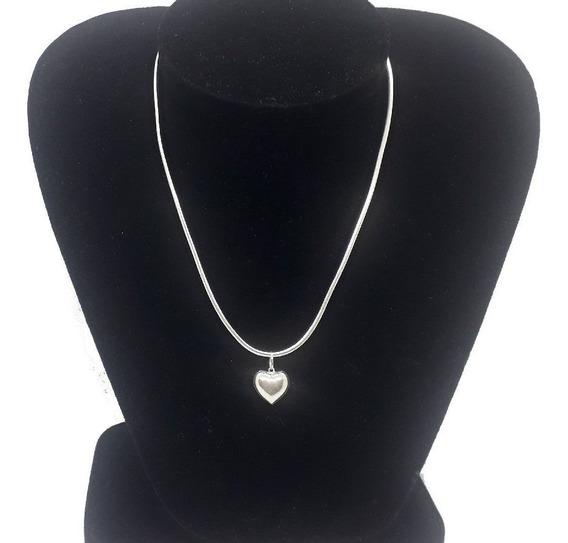 Promoção Colar Feminino Prata 925 Maciça + Pingente Coração