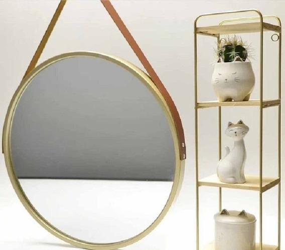 Espelho Redondo Cobre Decorativo Com Alça Couro Sintético