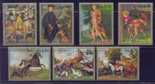 Paraguay Pinturas De Cazería Ecuestre Serie Completa Mint
