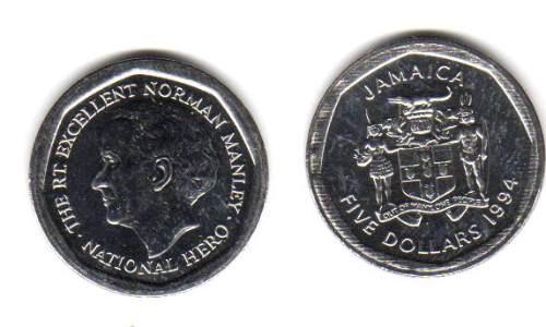 Moneda De Jamaica De 5 Dolares Año 1994 Manley Sin Circular