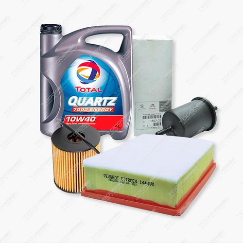 Kit 3 Filtros + Aceite Total Peugeot 308 Y 408 2.0 Nafta