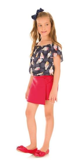 Conjunto Infantil Blusa E Shorts Saia Neoprene - Kukiê