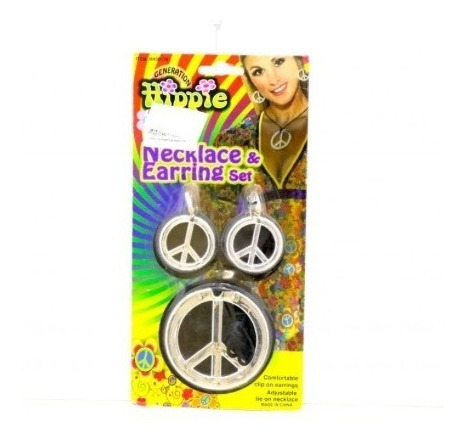 2 Pack Kit De Collar Y Aretes Hippie Color Plata De Pvc
