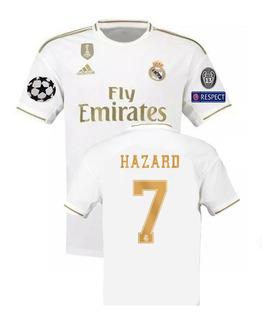 Camisa Real Madrid 2019/2020 Hazard #7 Champions - P.entrega