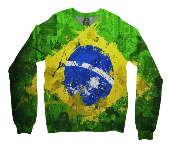 Moletom Raglan Unissex Brasil Bandeira Copa Md01