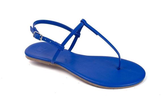Sandália Flat Básica Feminina Mercedita Shoes Azul Bic
