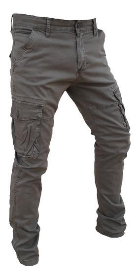 Pantalon Cargo Babucha Slim Camuflado Hombre Tipo Elastizado