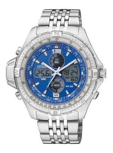 Relógio Citizen Js1046-55l Azul Wingman 100% Original Em S.p