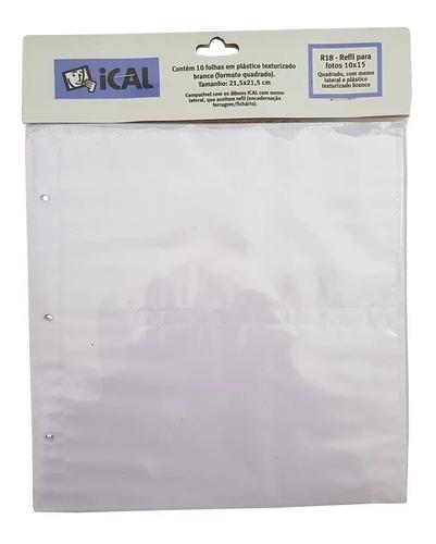 20 Unid Refil 10x15 R18 Ical Texturizado Branco Álbum Bebê