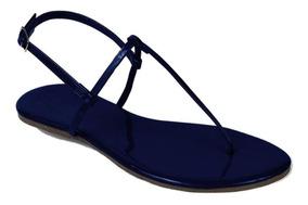 Sandália Flat Simples Verniz Marinho Mercedita Shoes 34-40