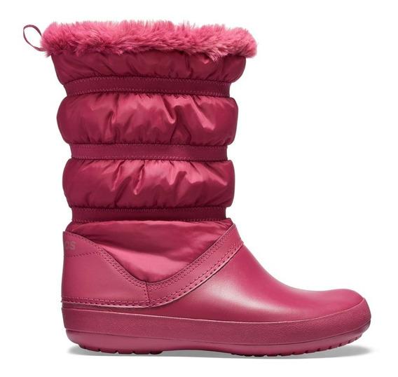 Bota Crocs Dama Winter Poof Boot Azul Rosa