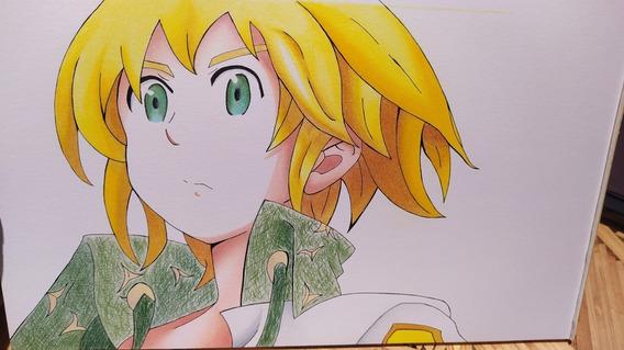 Dibujo Anime Meliodas Seven Deadly Sins Prismacolor Strathmo