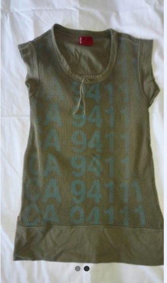 Remera Musculosa Mujer Verde Militar Talle Xs
