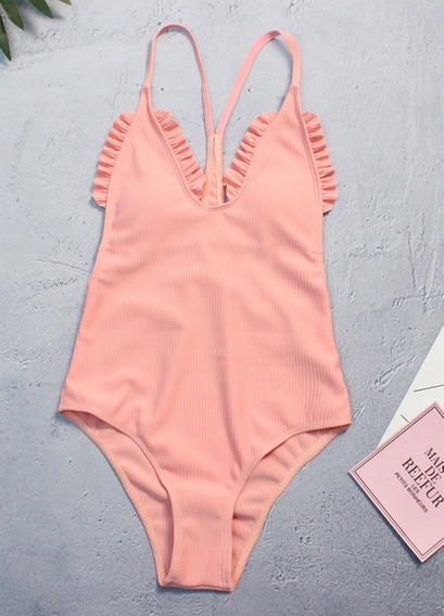 Cute & Sweet Pure Color Ruffled Swimwear Um Peda?o