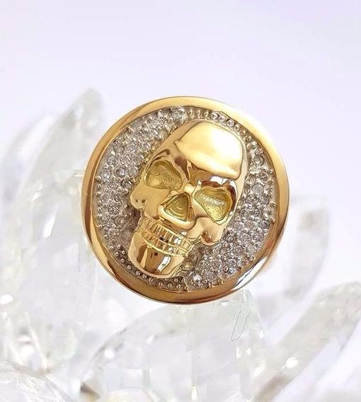 Anel Caveira Com Diamantes Ouro 18k 750