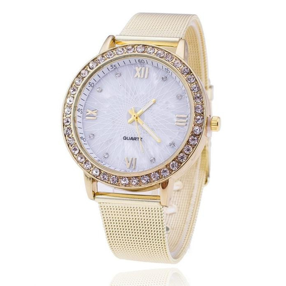 Relógio Feminino Fashion Malha De Aço Na Promoção