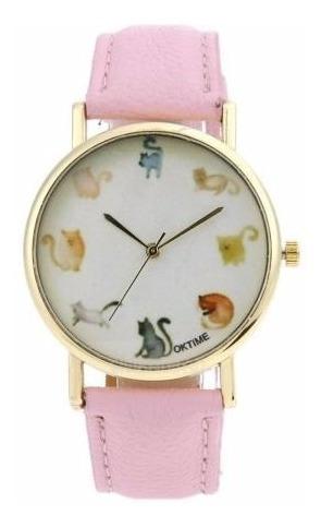 Relógio Feminino Gato Colorido Cartoon Couro Eco Caixinha
