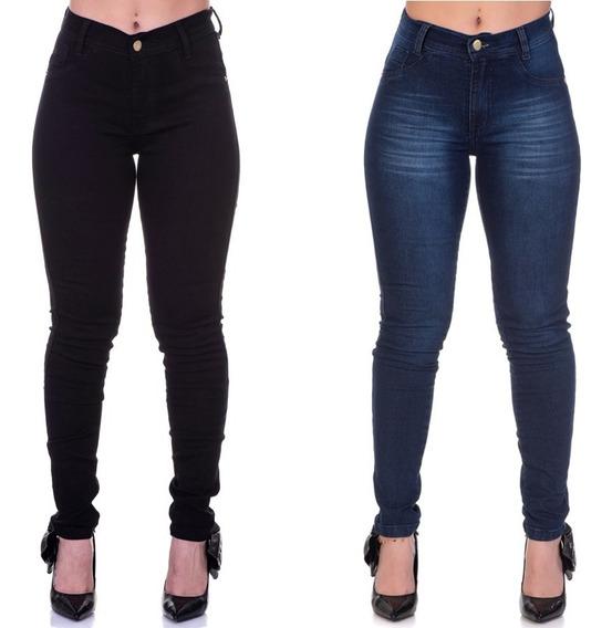 Calça Da Moda Jeans Skinny Preta E Desfiada Kit Em Promoção