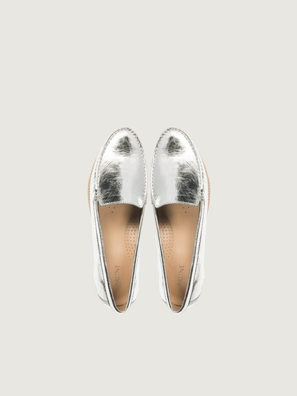 Mocasines Barrie Prune Color Plata Zapato Mujer