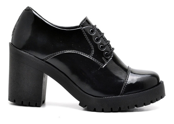 Sapato Oxford Salto Grosso Tratorado Verniz Em Promoção