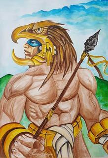 Cuadro Decorativo En Acuarela Guerrero Azteca Aguila