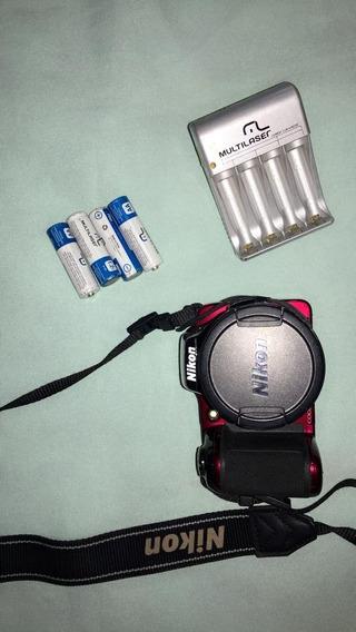 Câmera Digital Nikon Coolpix L810 Vermelha