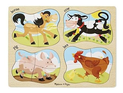 Melissa Y Doug Farm 4 En 1 Wooden Peg Puzzle Horse Cow Pig Y