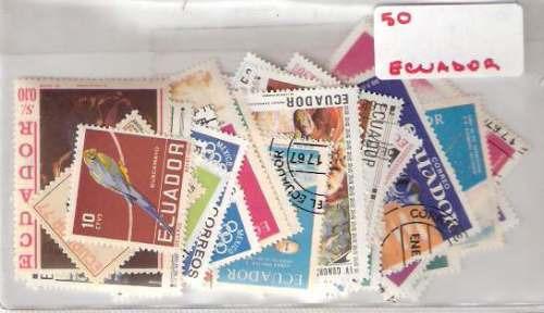 Lote De 50 Estampillas De Ecuador Distintas ¡oferta!