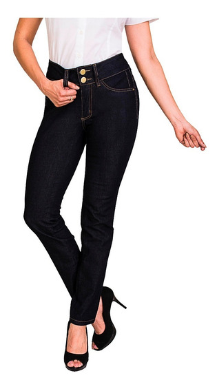Calça Jeans Reta Feminina Cintura Alta