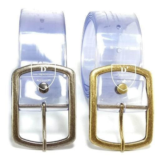 Cinto Transparente Feminino Largura 4cm Fivela Metal Fachion