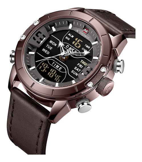 Relógio Masculino Naviforce 9153 Esportivo Digital Couro