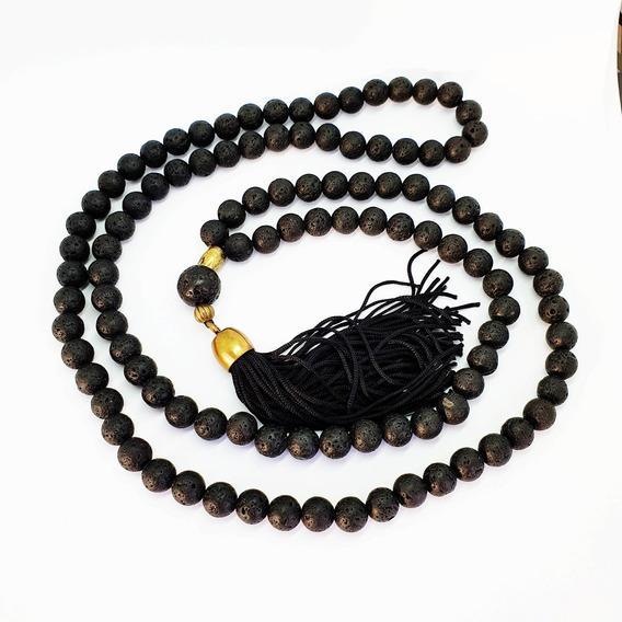 Japamala Natural Lava Negra Energia Meditação 8mm 108 Contas